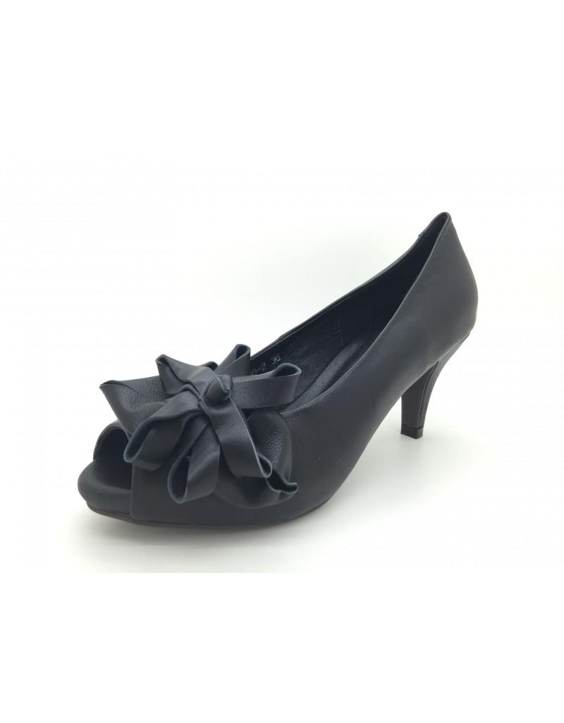 ec99334f485 twelve15twenty DOLLY Black Lambskin Leather Peep Toe Platform Heels women  shoes