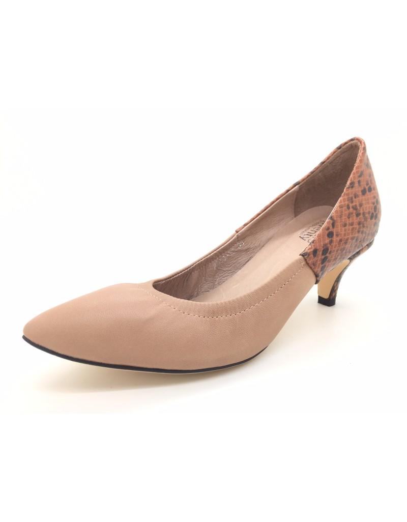 36a5b844dec DOLLY Light Brown Lambskin Leather Snakeskin Print Counter Heels