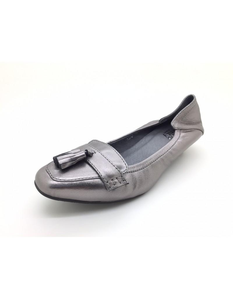 7afd13452d twelve15twenty DOLLY Metallic Grey Colour Lambskin Leather Tassel Kitten  Heels women shoes