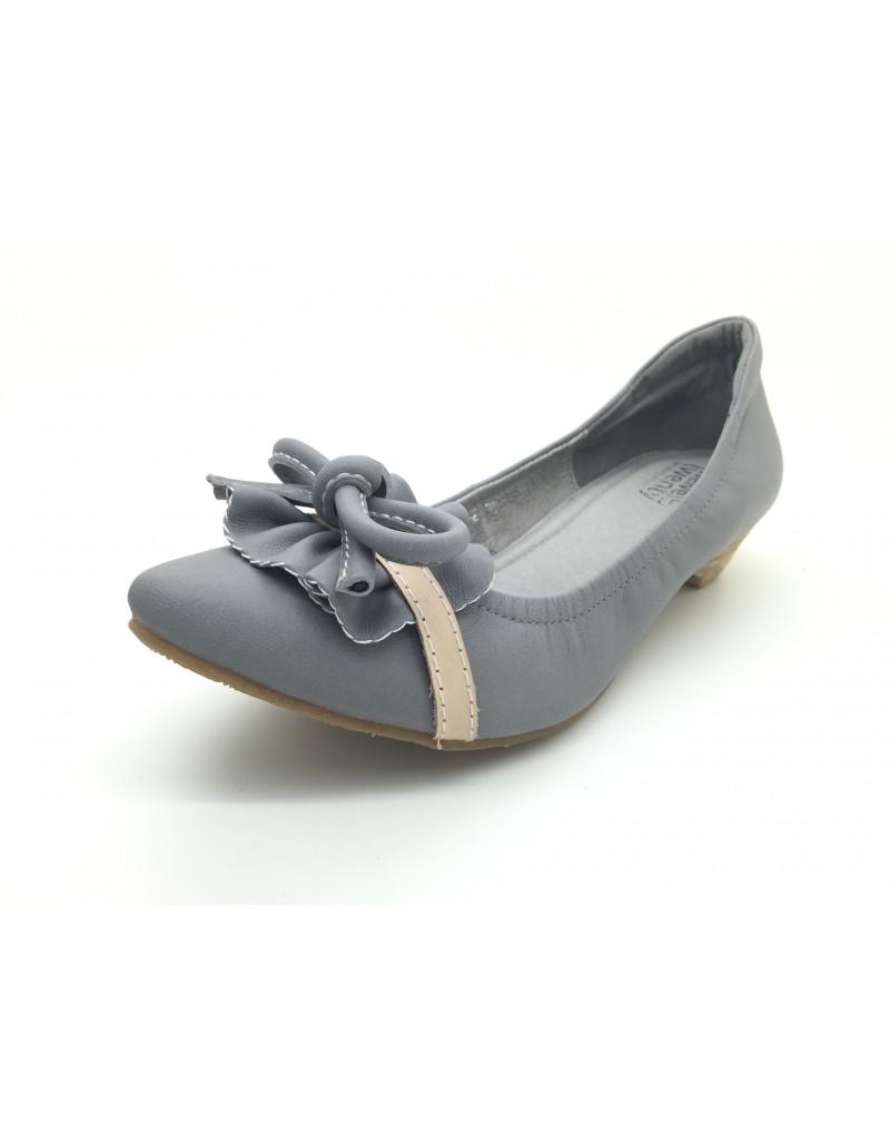 41b0cd1e943 twelve15twenty DOLLY Grey Lambskin Leather Ribbon Kitten Heels women shoes
