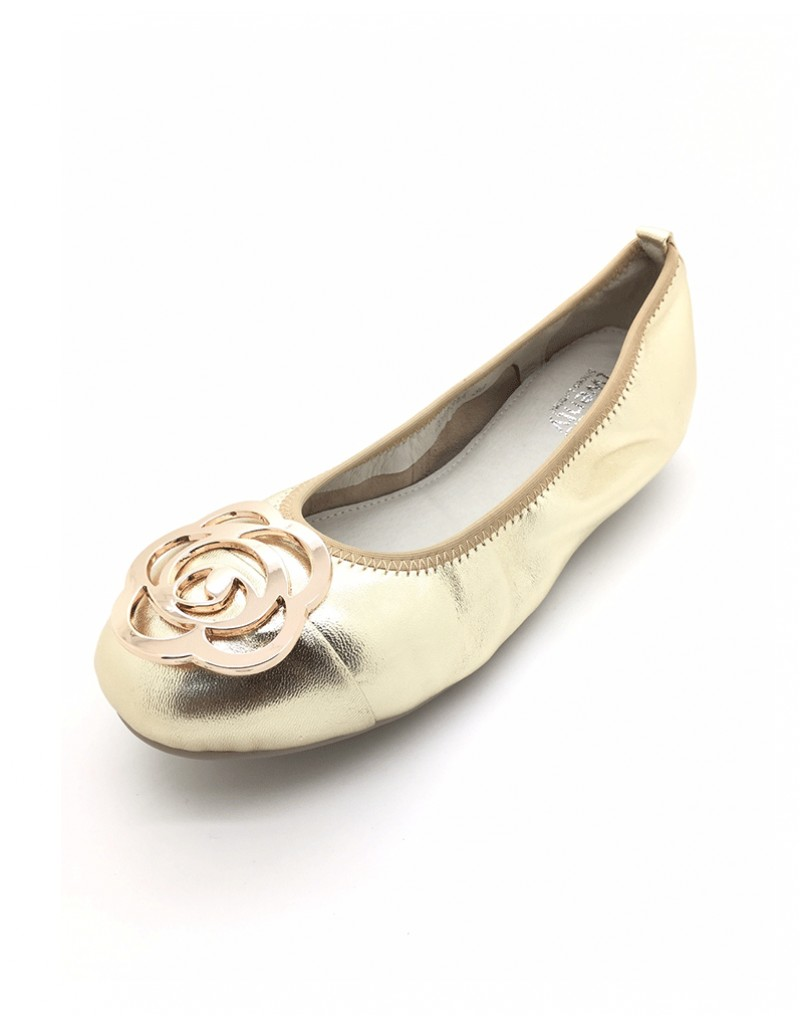 fa4680acc43ba DOLLY Gold Lambskin Leather Ballerina Flats