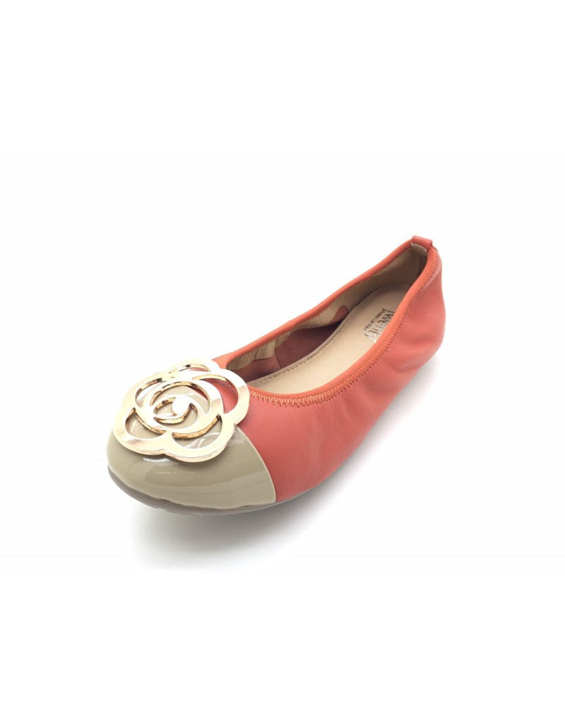 856a5820f59b7 twelve15twenty DOLLY Orange Lambskin Leather Ballerina Flats women shoes