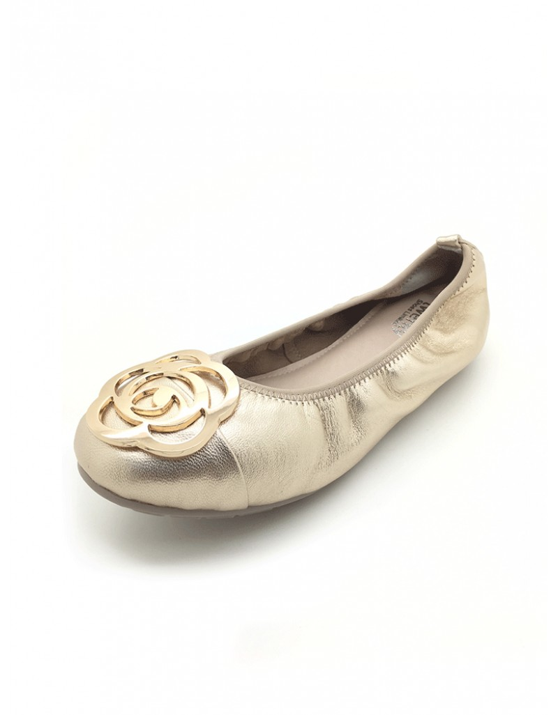 a56e707b494fd twelve15twenty DOLLY Rose Gold Lambskin Leather Ballerina Flats women shoes