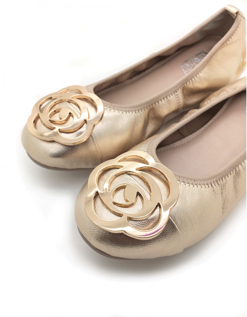 d5fafc493d225 twelve15twenty DOLLY Rose Gold Lambskin Leather Ballerina Flats ...