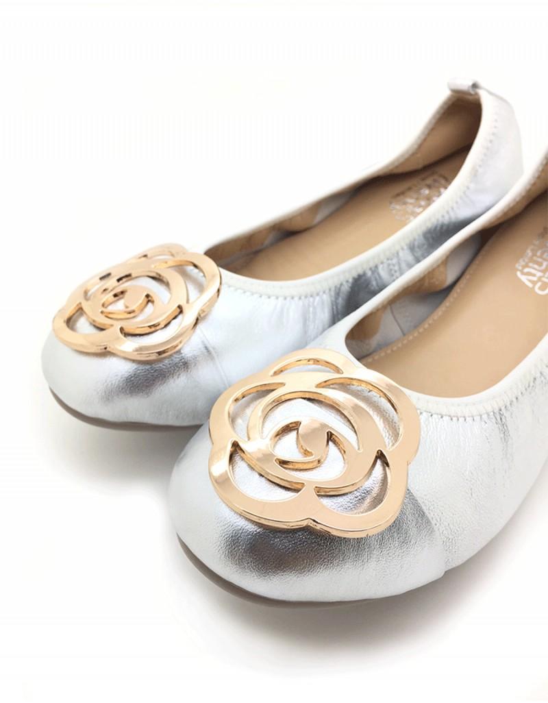 f1aae13c4af9 twelve15twenty DOLLY Silver Lambskin Leather Ballerina Flats women shoes
