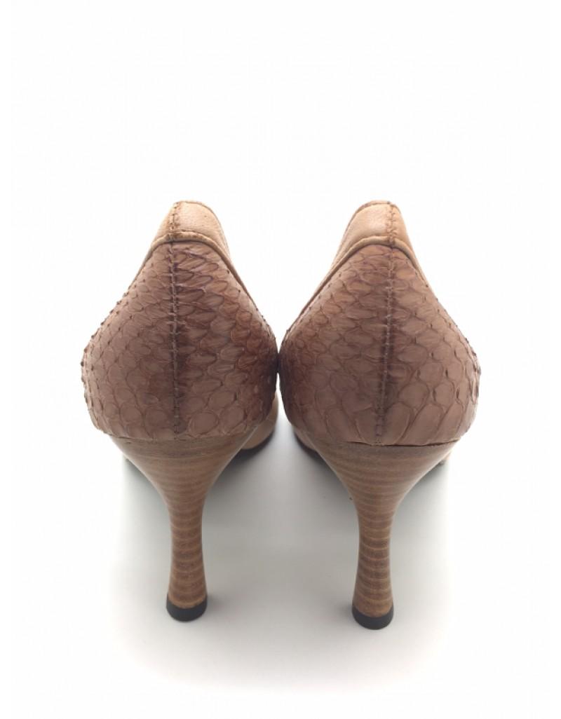 4222290bebd DOLLY Brown Lambskin Leather Snakeskin Trim Design Peep Toe Heels