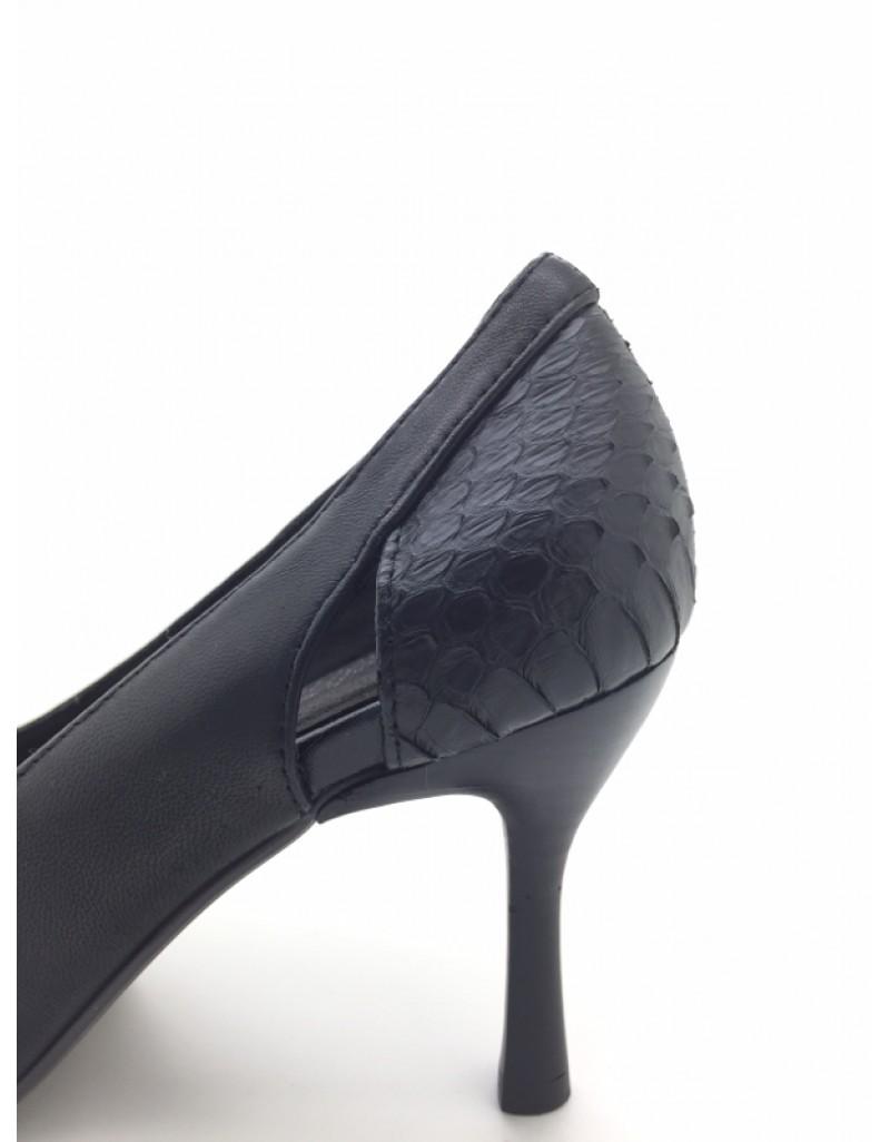 81b1e068f91 DOLLY Black Lambskin Leather Snakeskin Trim Design Peep Toe Heels