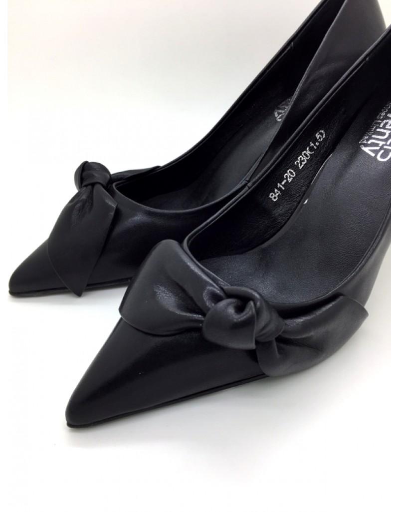 c01a0efa3a twelve15twenty MACY Black Cowhide Leather Ribbon Stiletto Heels ...