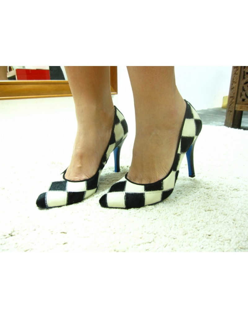 black and white checkered high heels